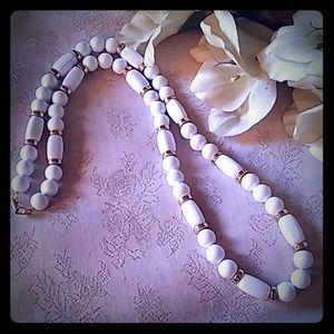 Vintage Napier White Beaded Necklace